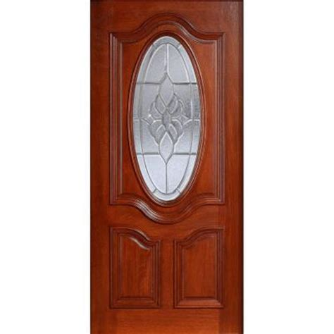 Oval Glass Front Entry Door 32 In X 80 In Mahogany Type Prefinished Cherry Beveled
