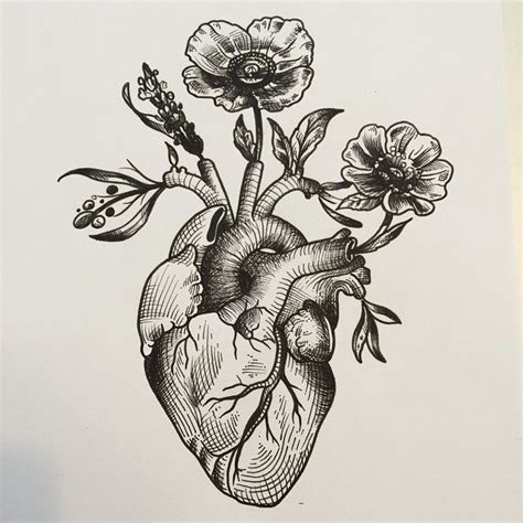 heartbeat tattoo drawing anatomical heart woodcut google search metallics