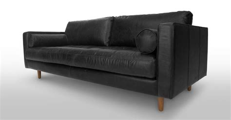Black Settee Blue Leather Mid Century Modern Sofa Upholstered Sven