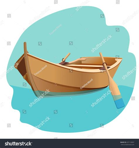 boat with oars vector wooden boat oars vector illustration isolated stock vector