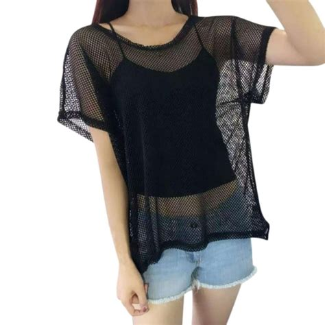 Tshirt Nrt hollow mesh net t shirt sleeve tops