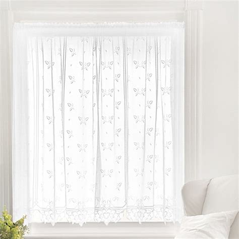 Sheer Tier Curtains Buy Heritage Lace 174 Heirloom 45 Inch Sheer Window Curtain Tier In White From Bed Bath Beyond