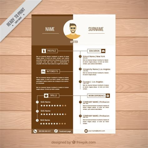 resume format freepik brown resume template vector free