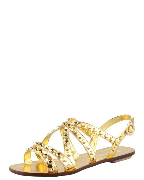 gold strappy flat sandals prada studded strappy flat sandal gol in gold lyst