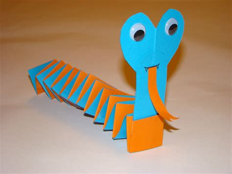Paper Snake Craft - paper snake 3 and a gluestick