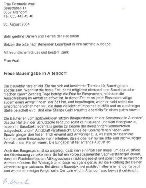 Brief Schweiz Beispiel Seezone Altendorf Ernst Maissen