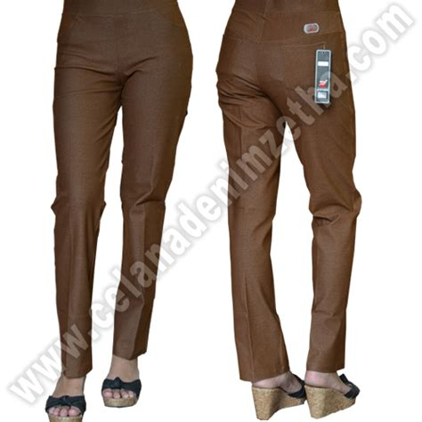 celana zetha denim warna coklat muda celana denim zetha