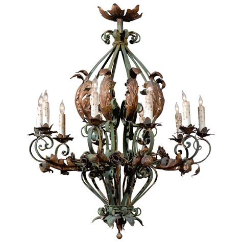 Large French Rococo Green Painted Iron And Gilt Tole Painted Chandeliers