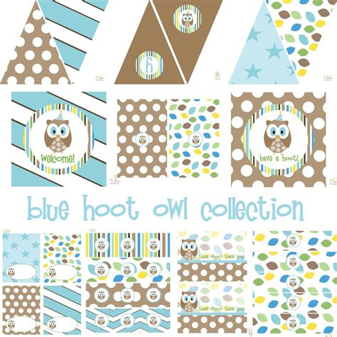 Etsy Owl Baby Shower Decorations by Blue Hoot Owl Decorations For Birthday Or Baby
