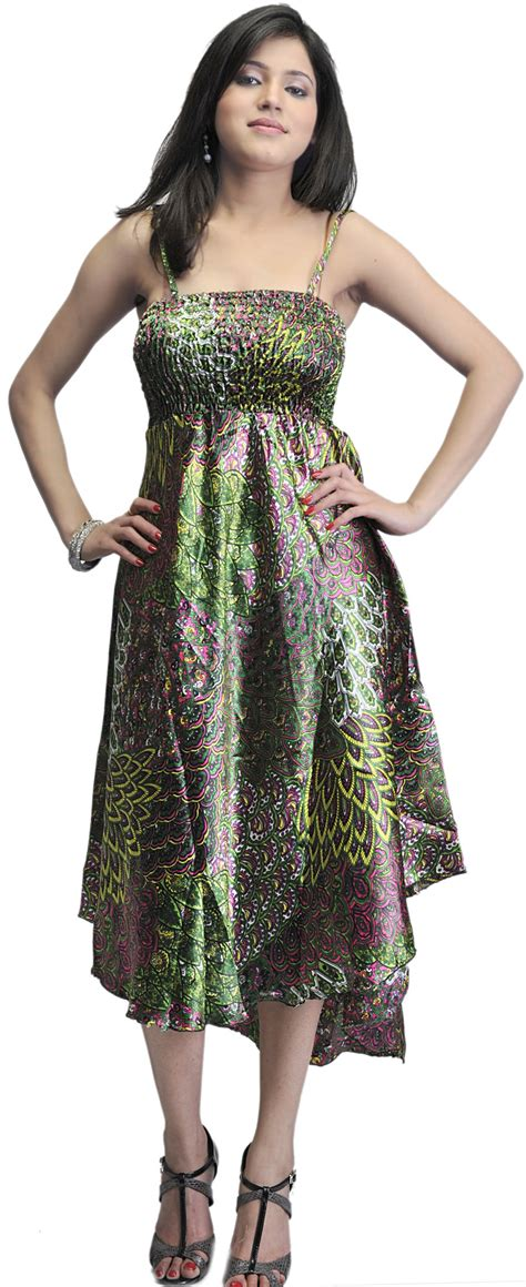Dress Stj green printed noodle summer dress