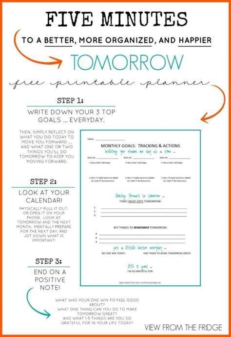 Free Daily Planner Printable 5 Minutes To A Better More Organized And Happier Tomorrow 5 Minute Journal Template