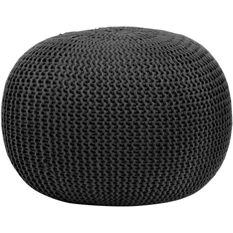 black knitted pouffe shop knit pouf stool poof floor cover decor