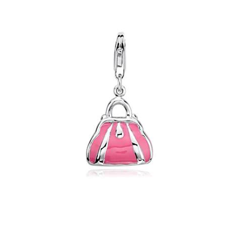 Silver Charm With Pink Enamel P 1179 pink enamel purse charm in sterling silver blue nile