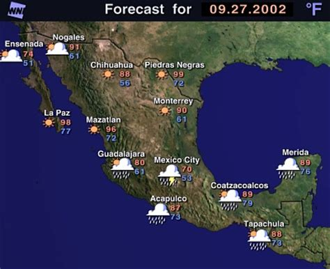 weather map usa and mexico excite weather
