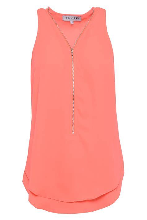 Chiffon Top iclothing zip chiffon top in neon orange iclothing