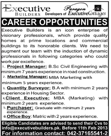 Mba In Construction Management In Pakistan by Executive Builders Needs Project Manager Marketing