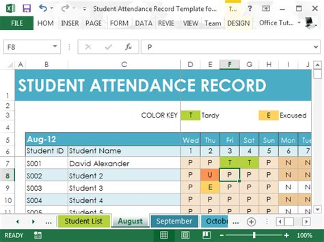 template for student management system student attendance record template for excel
