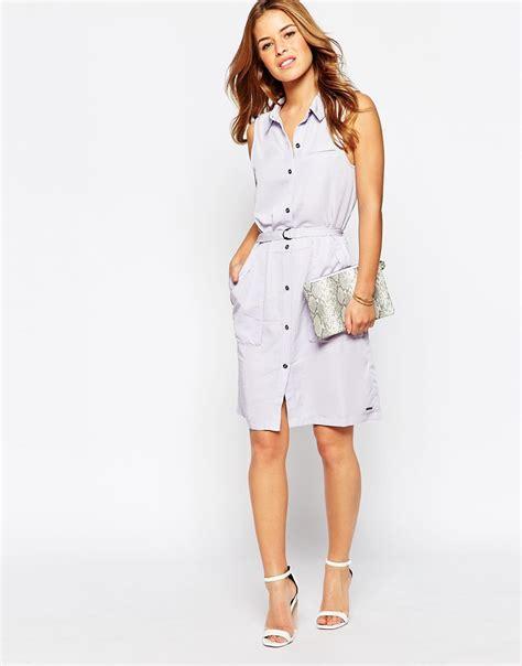 Sleeveless Shirtdress vero moda sleeveless shirt dress in white purple lyst