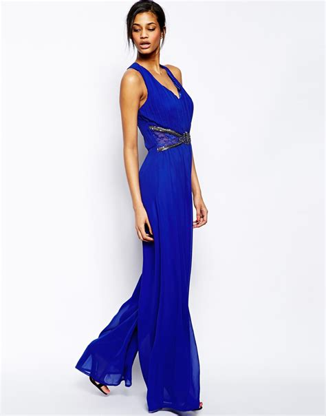Jumpsuit Blue lyst jumpsuit with cross back and embellished waist in blue