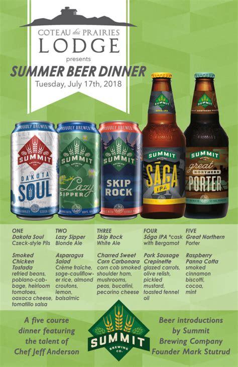 summer beer dinner  coteau des prairies lodge