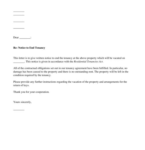 Notice Of Lease Agreement Termination