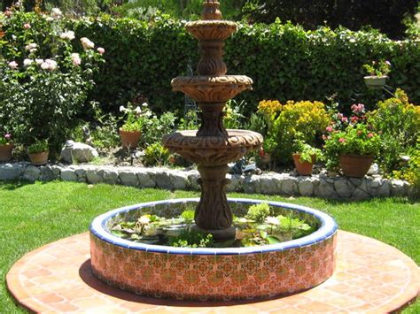 Mexican Tile Around A Pond And Stone Fountain, Mexican Home Decor Gallery. Mission Accesories