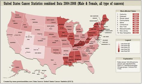 map usa by states united states cancer statistics map visual ly