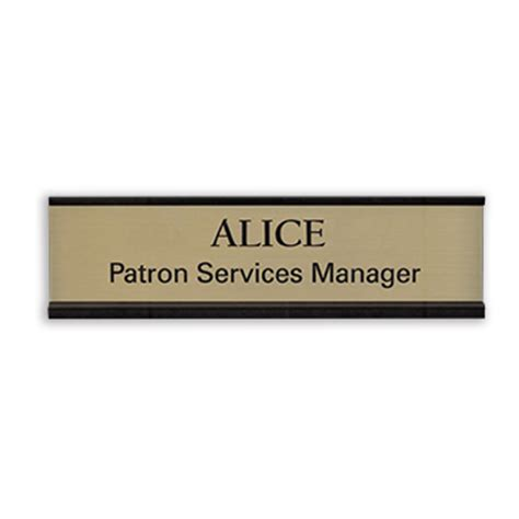 on sign for desk desk name plate with a metal frame successful signs and