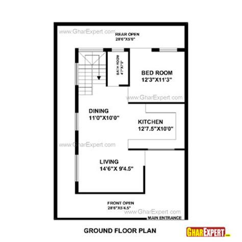 1 gaj in sq feet house plan for 33 feet by 45 feet plot plot size 165