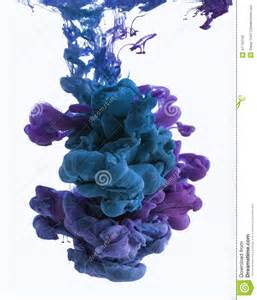 color drop in water color ink drop in water cyan blue violet stock photo