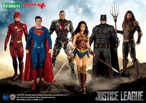 justice league film order justice league movie artfx statues by kotobukiya