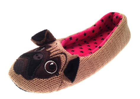pug slippers womens slippers pug bow mules knitted ballet pumps size uk 3 8 ebay