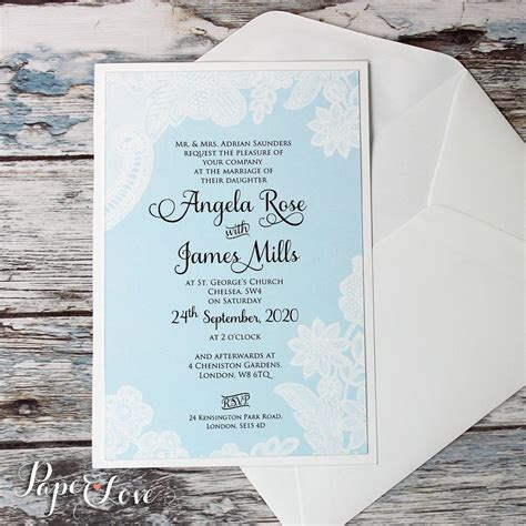 Beautiful Wedding Day Invitation With Aqua Blue Background & White Pri ? Paper Love Cards
