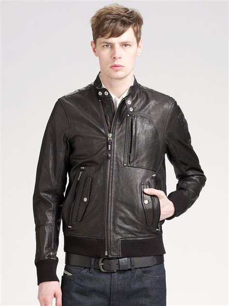 Diesel Black diesel leather jacket in black for lyst