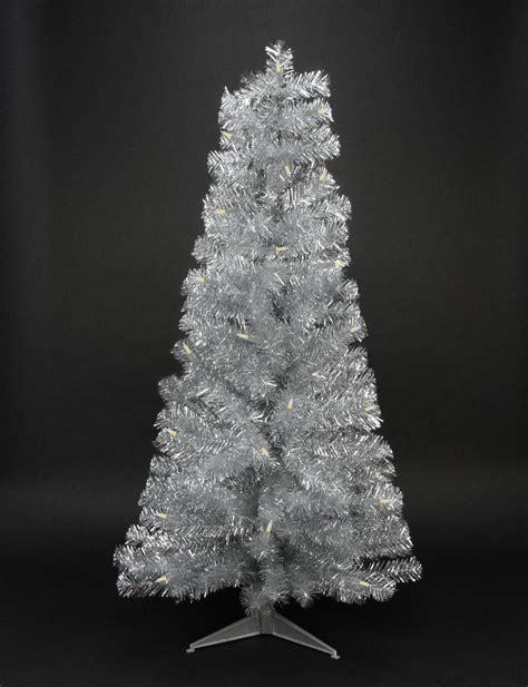 fibre optic christmas tree silver national tree pre lit 36 quot fiber optic fireworks silver tinsel artificial tree with 48