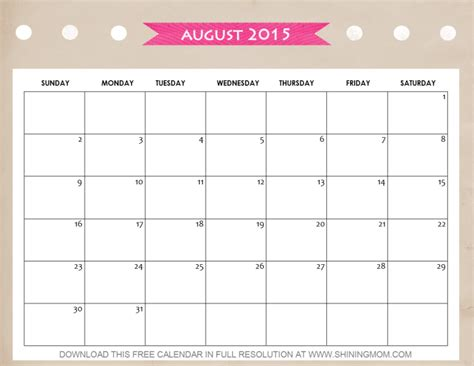 August Printable Calendar 2015 10 Lovely Calendars For August 2015