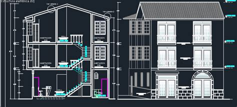 three levels hotel 2d dwg design section for autocad