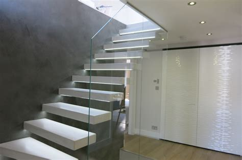 Hanging Stairs Design Tailor Made Hanging Beton Cire Stairs And Feature Wall Modern Staircase By Modern