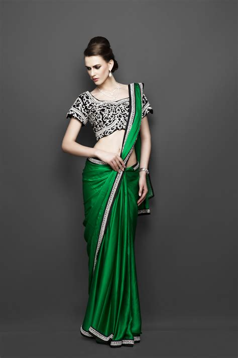 Green Modern Style Saree Draping Trends In Mordern
