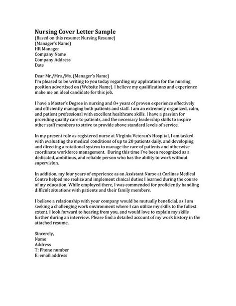 cover letter exles for nurses 17 best ideas about nursing cover letter on