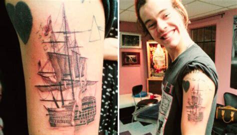 harry styles ship tattoo s boyfriend harry styles inked a big ship