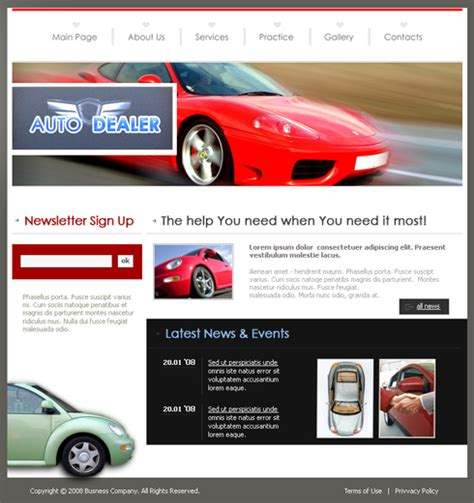 Auto Dealer Css Template 3527 Cars Transportation Website Templates Dreamtemplate Car Dealer Website Template
