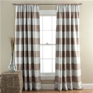 Taupe Striped Curtains Set Of 2 Taupe White Striped Stripe Blackout Curtains Panels 84 Quot Length Ebay