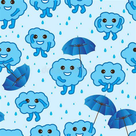 wallpaper cartoon blue cloud happy cute blue seamless pattern stock vector
