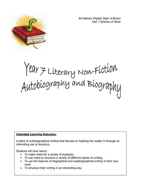 biography and autobiography ks3 sentence openings by uk teaching resources tes