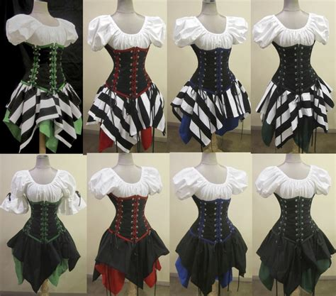 pattern black swashbuckler s shirt 4 tie bodice set renaissance clothing medieval costume