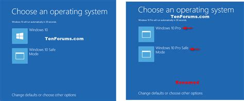 choosing windows operating system name at startup change in windows 10