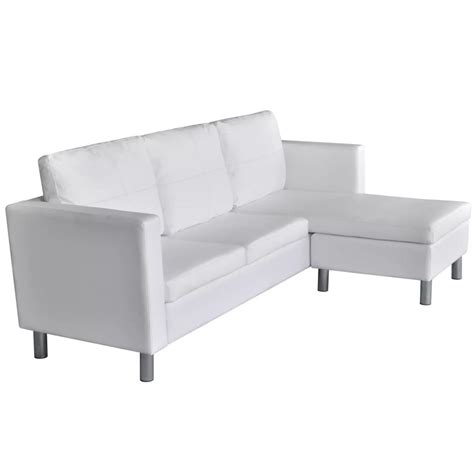 3 Seater L Shaped Artificial Leather Sectional Sofa White 3 Leather Sectional Sofa