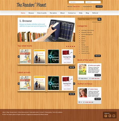 design online library website design for an online library management system on