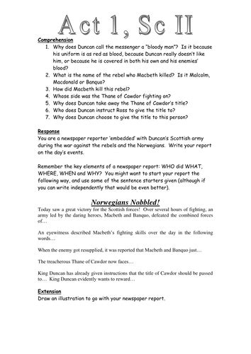 themes in macbeth ks2 macbeth act 1 scene 2 newspaper task worksheet